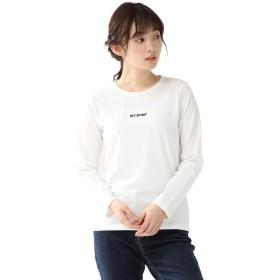 トップス カットソー Tシャツ 長袖 レディース クルーネック ロゴ 春 ボーダー Honeys ハニーズ ロゴ刺繍Tシャツ 587011533641 オフ M