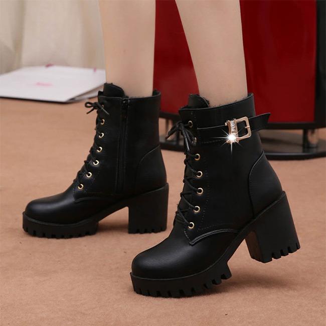FOFU-(任選2雙888)短靴歐美個性百搭拉鍊皮面粗跟高跟短靴【02S11316】