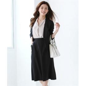 洗えるストレッチスカートスーツ(カラーレスジャケット+長め丈セミフレアスカート) (大きいサイズレディース)スーツ,women's suits ,plus size