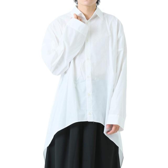 [アズスーパーソニック] シャツ ロング ビッグシルエット 裾ラウンド メンズ ホワイト F