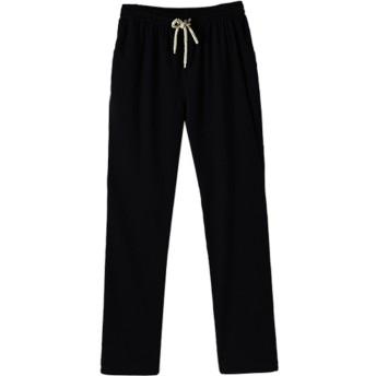 MyMei ズボン パンツ ロングパンツ メンズウェア 男の子ウェア カジュアル 綿麻素材 春夏ウェア 通気 柔軟 (L, ブラック)