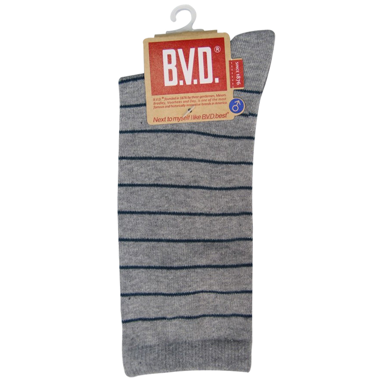 BVD細條紋男襪(中灰)