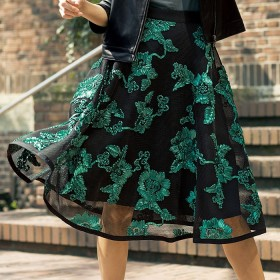 ベルーナ リボンフラワーインパクトスカート グリーン系 L レディース
