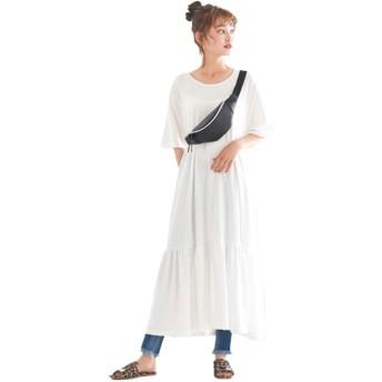 [神戸レタス] レディース 裾ティアード 半袖 カットソー ワンピース [E2083] ワンサイズ(M) オフホワイト
