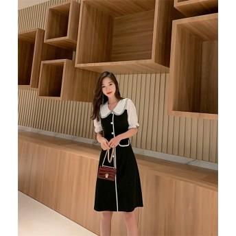 新生活応援SALE レデイース INSスタイル 夏 ファッション ゆったりする 小さな黒いスカート 人形の襟 カジュアル レトロ 韓国 気質 スリムフィット スリム 中・長セクション ワンビース