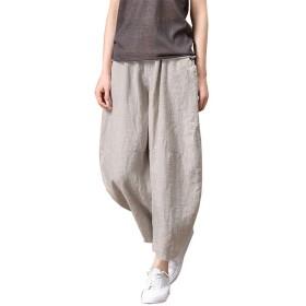 レディース 綿麻パンツ ワイド パンツ ゆったり 長ズボン コーディネートシンプル ロング 無地 ゆったり ポケット付き 大きいサイズ (M, グレー)