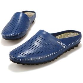 [URNICE] サンダル メンズ オフィス 人気 サボサンダル 軽量 蒸れない スリッポンサンダル 滑りにくい 歩きやすい 柔らかい オフィスサンダル ブルー 24.5