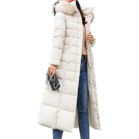 MyMei レディース コート ジャケット ダウンコート ダウンジャケット ロング ファッション 防風 暖かい 防寒 カジュアル 秋冬 (L, ホワイト)