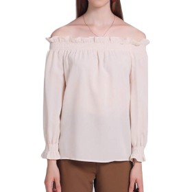 Beeatree 女性の固体ストラップレス秋は軽くスタイリッシュなトップブラウスシャツ Apricot XS