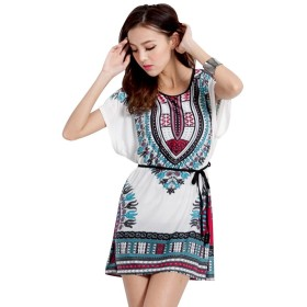 Women Blouse Casual Short Sleeve Top Round Neck Summer Loose Bat Sleeve Cold Shoulder Bohemian Tunic Blouse with Waist Belt (02)