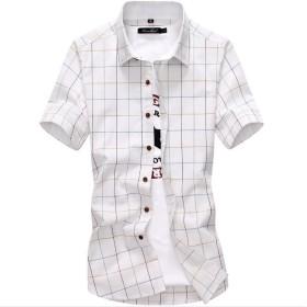 AISHITE ドレス シャツ メンズ 半袖 ギンガム チェック柄 クールビジ ボタンダウン カジュアル 全5色