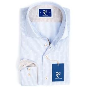 【59%OFF】ストライプ×ドット ホリゾンタルカラー 長袖シャツ ライトブルー 40