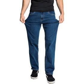 Hiloyaya メンズ 無地 ジーンズ ストレッチ ストレート デニムパンツ 大きいサイズ ジーパン ゆったり カジュアル (40, ブルー1)
