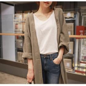 レディース 長袖 上質 リネン シンプル ゆったり 大きいサイズ オーバー 速乾 上着