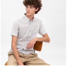 【LACOSTE:トップス】接触冷感ハウンドトゥースボタンダウンシャツ