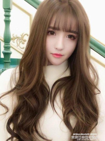 假髮帽假髮女長髮長捲髮大波浪圓臉帽子帶假髮韓系蓬松自然全頭套式 萊俐亞