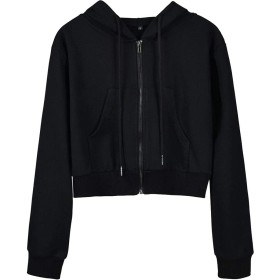 chenshiba-JP レディースクロップトップルーズコートフーディーロングスリーブジッパースウェットシャツ Black XL