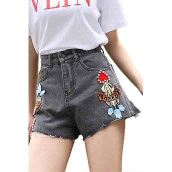 レディースハイウエストジーンズファッションジーンズデニムショートパンツガールズレディースジーンズショートエレガント夏パンツ花柄ストレッチデニムショートパンツ (Color : Grau, Size : S)