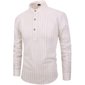 AngelSpace メンズレギュラーフィットストライプロングスリーブカジュアルリネンコットンシャツ White 2XL