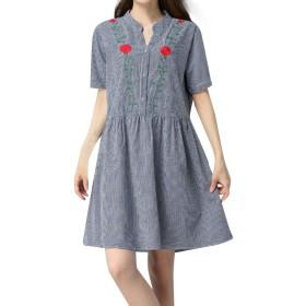 女性コットンリネンVネックプラスサイズ半袖刺繍カジュアルチェック柄ワンピース