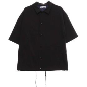 ドライストレッチメッシュ切替半袖コーチシャツ M ブラック