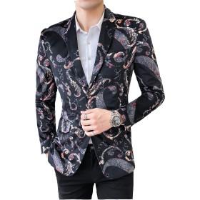 MANMASTER(マンマスター) メンズ テーラードジャケット 二つボタン ファッション 細身 春秋 パーティー結婚式新郎舞台ステージホスト演出衣装お洒落総柄 紳士服 コートCH345 (XXL, タイプ2)