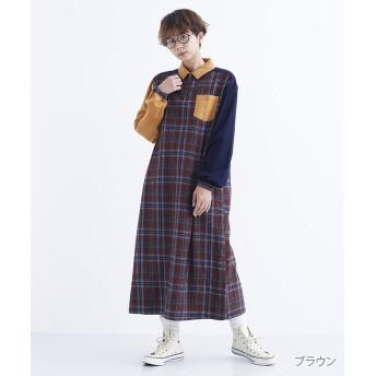メルロー ハーフジップチェック柄配色ワンピース レディース ブラウン FREE 【merlot】