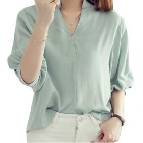 【Shop マーズ】Vネック シフォン スキッパーシャツ ドルマン袖トップス バックボタン (L, グリーン)