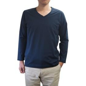 (イチボウ)ICHIBO WAITO 紳士 スッキリシルエット Vネック ロングTシャツ 綿100% 日本製 (M, ネイビー)