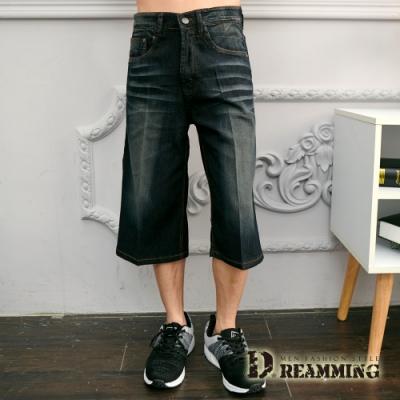 Dreamming 刺繡圖騰刷白伸縮牛仔七分短褲-深藍