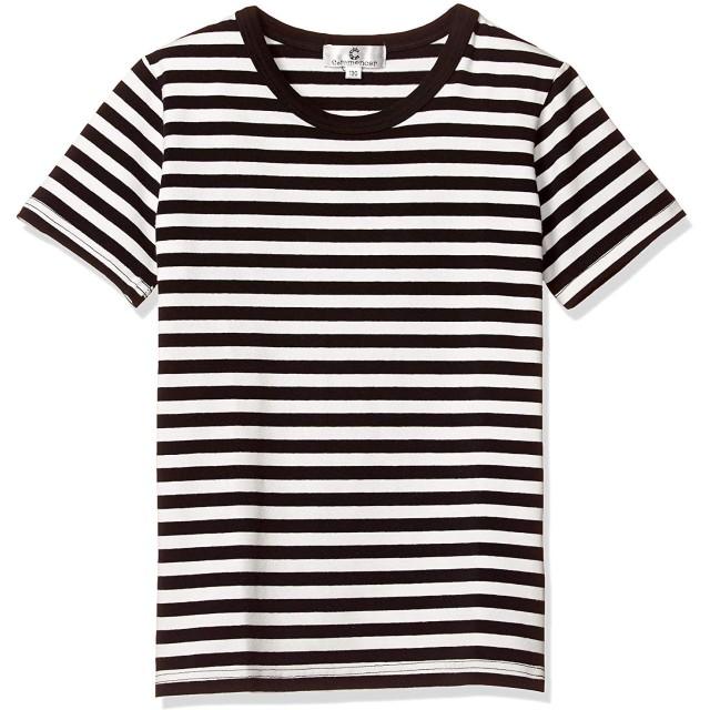 (コマンス)commencer子供服 ボーダー短袖066 Tシャツ 100-160cm 男の子 女の子 キッズ カットソートップス (150, 白x 黒)