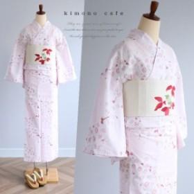 レディース 浴衣単品 淡ピンクアーモンド花柄 日本製生地 変わり織り浴衣 大きいサイズ 小さいサイズ