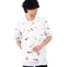 (エイト) 8(eight)総柄シャツ グランジシャツ オープンカラー ホワイトM
