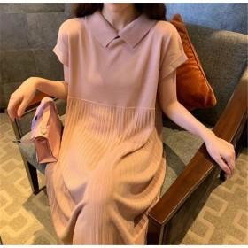 春夏に入る前の準備 韓国ファッション おしゃれな CHIC気質 トレンド 新品 人形の襟 sweet系 ゆったりする 半袖 ニットワンピース
