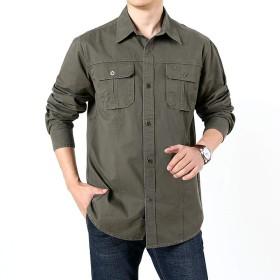 AnRoRaシャツ メンズ ミリタリーシャツ 長袖 軍シャツ 開襟シャツ カジュアル シャツジャケット ゆったり 大きいサイズM~4XL 冬 秋 春 メンズシャツ green-L