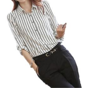 [レムアンドクー] レディース 長袖 ストライプ シンプル ブラウス シャツ カットソー 白 ホワイト 黒 トップス カットソー 無地 キレイメ カジュアル ドレスシャツ ボーダー セクシー 人気 Yシャツ シフォンブラウス かわいい (L(日本のMサイズ))