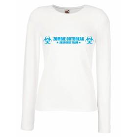 女性の長袖Tシャツ Zombie Outbreak Response Team (L ホワイトブルー)