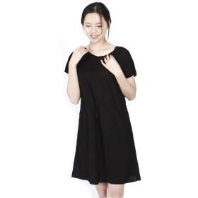 IMAii(イマイイ) ワンピース aライン 綿麻 シャツワンピース レディース 半袖 無地 リゾート ゆったり 大きいサイズ 体型カバー