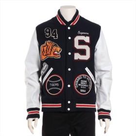 シュプリーム ウール スタジャン サイズM メンズ ネイビー 09AW Varsity Jacket
