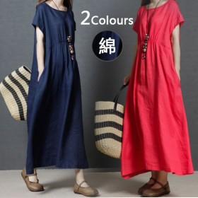 夏の新しい2019年韓国のファッション緩い大きいサイズの女性のファッションリネンロングソリッドカラーのドレス