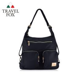 TRAVEL FOX 旅狐 多層口袋肩背/後背包兩用包 (TB698-01) 黑色