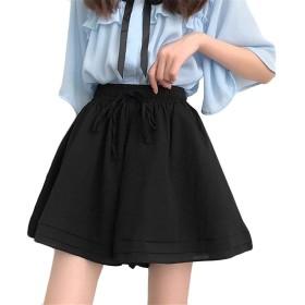ANGELCITY レディース キュロット スカート ミニスカート ショートパンツ ハイウエスト ウェストゴム インナー付 中は見えない フレアスカート 無地 ゆったり カジュアル おしゃれ エレガント 夏服 フリーサイズ A1382 (ブラック)