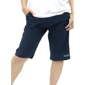 [へインズ] ハーフパンツ メンズ 無地 綿麻 麻混 リネン ショートパンツ イージーパンツ ボトム ネイビー L