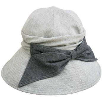クイーンヘッド エレガントリボンUV ハット UVカット 帽子 レディース 大きいサイズ つば広 ハット 紫外線カット 女優帽 (XLサイズ61cm グレー)