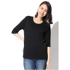Tシャツ レディース 半袖 5分袖 クルーネック 綿 オーガニックコットン シンプル UVカット Honeys ハニーズ 5分袖フライスクルーT 512013561952 クロ L