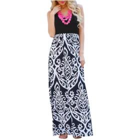 WE&energy 女性ボヘミアン花柄ノースリーブパッチワークセクシーマキシロングドレス Black XL