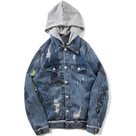 Pizoff(ピゾフ) デニムジャケット メンズ 青い フード付 ファション b系 v系 個性 Gジャン ジージャン カジュアル 秋AL176-S-JP