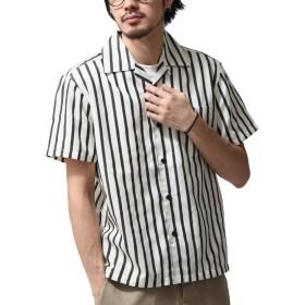 [ジップファイブ] ZIP FIVE T/Cブロード半袖オープンカラーシャツ 171903bz 7アイボリーストライプ M