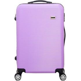 ANGELCITY スーツケース ストライプ柄 キャリーケース キャリーバッグ 機内持ち 込み ファスナー式 TSAロック付 ハードケース 盗難防止 傷が目立ちにくい ビジネ ススーツケース スクラブPC 旅行 出張 男女兼用 A1871 (20インチ, パープル)