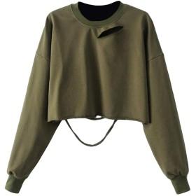 Hajotrawa 女性は、作物のTシャツをカットスリム作物スウェットシャツを破棄破棄 Army Green One Size